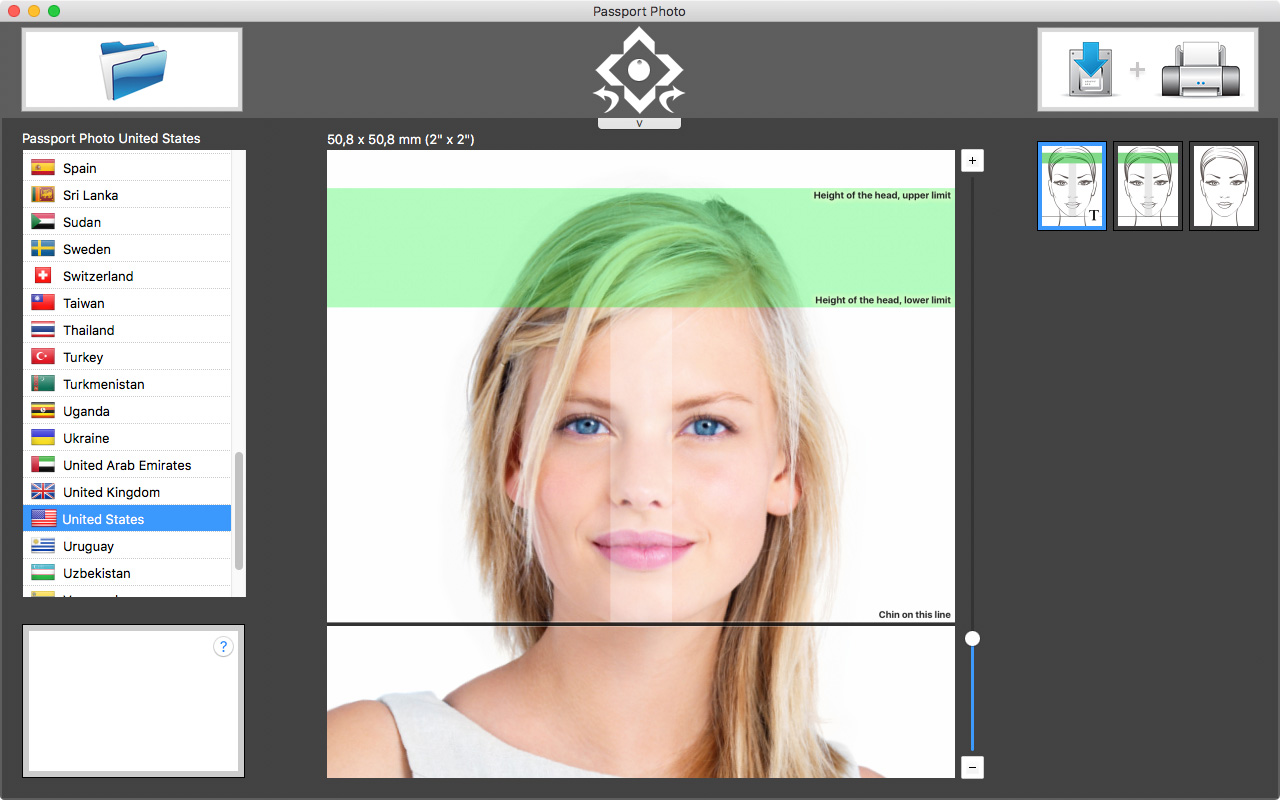 Selection of the US passport photo template
