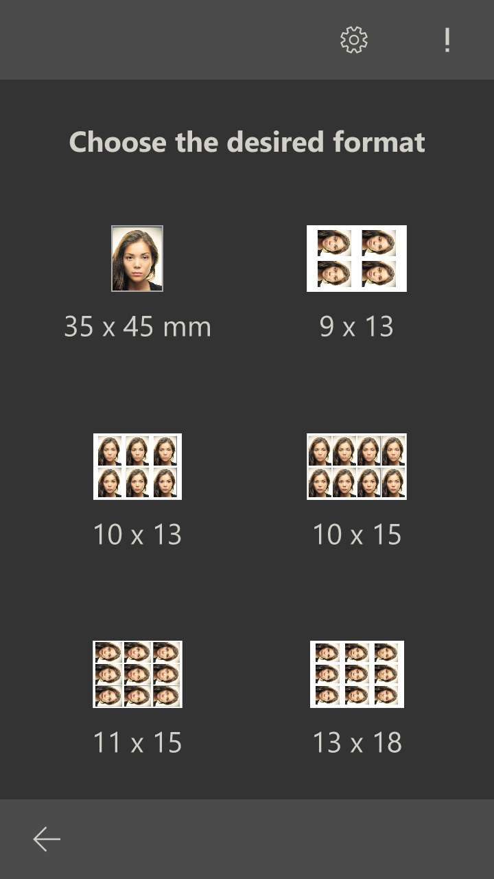 Several passport photos on a photo format (Windows 10 App)