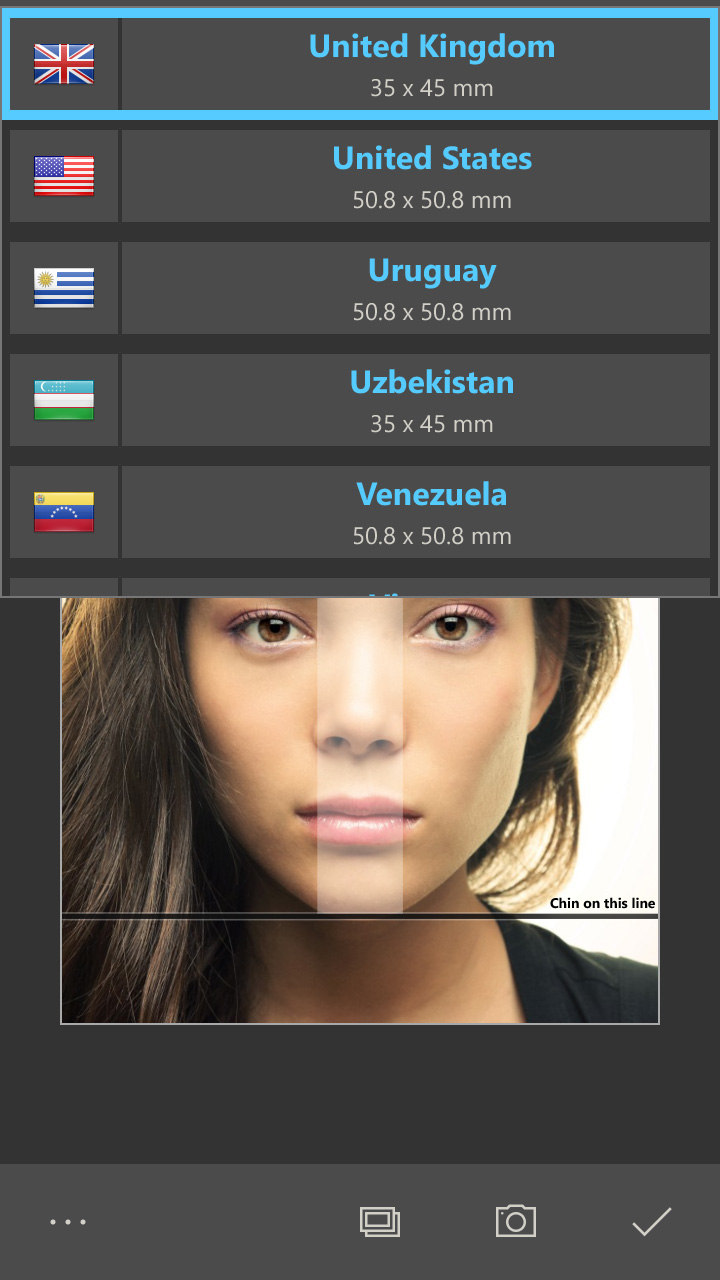 Create passport images for countries like USA, China or other countries (Windows 10 App)